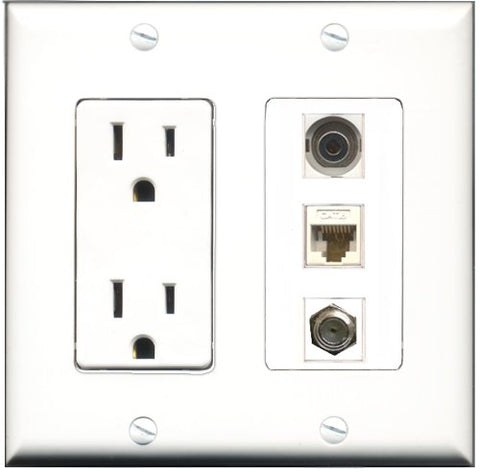 RiteAV - 15 Amp Power Outlet 1 Port Coax 1 Port 3.5mm 1 Port Cat6 Ethernet Ethernet White Decorative Wall Plate