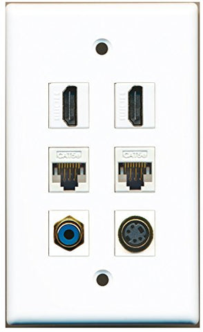 RiteAV - 2 HDMI 1 Port RCA Blue 1 Port S-Video 2 Port Cat5e Ethernet White Wall Plate