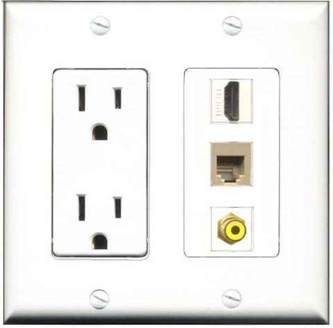 RiteAV - 15 Amp Power Outlet 1 Port HDMI 1 Port RCA Yellow 1 Port Phone Beige Decorative Wall Plate