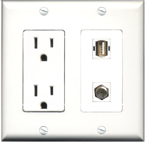 RiteAV - 15 Amp Power Outlet and 1 Port Coax Cable TV- F-Type and 1 Port USB A-A Decorative Type Wall Plate White