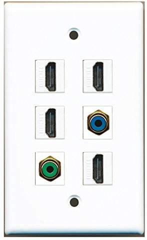 RiteAV - 4 HDMI 1 Port RCA Green 1 Port RCA Blue Wall Plate