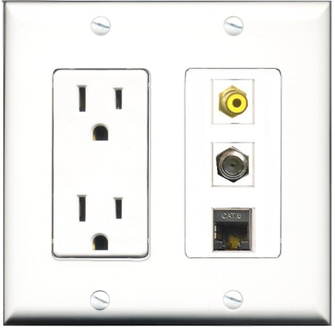 RiteAV - 15 Amp Power Outlet 1 Port RCA Yellow 1 Port Coax 1 Port Shielded Cat6 Ethernet Ethernet Decorative Wall Plate