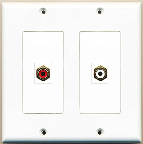 RiteAV - 1 Port RCA Red 1 Port RCA White - Dual Gang Wall Plate