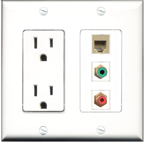 RiteAV - 15 Amp Power Outlet 1 Port RCA Red 1 Port RCA Green 1 Port Phone Beige Decorative Wall Plate