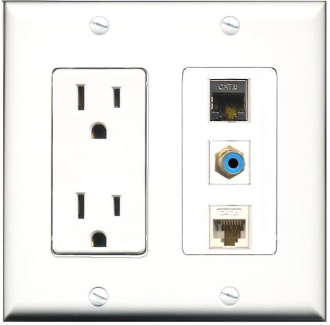 RiteAV - 15 Amp Power Outlet 1 Port RCA Blue 1 Port Shielded Cat6 Ethernet Ethernet 1 Port Cat6 Ethernet Ethernet White Decorative Wall Plate