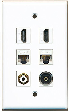 RiteAV - 2 HDMI 1 Port RCA White 1 Port Toslink 2 Port Cat5e Ethernet White Wall Plate