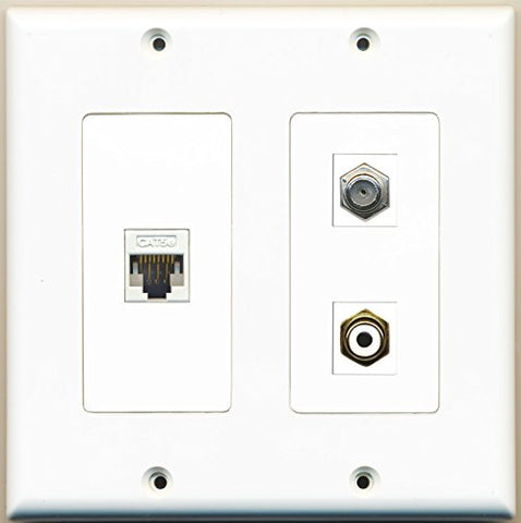 RiteAV - 1 Port RCA White 1 Port Coax Cable TV- F-Type 1 Port Cat5e Ethernet White - 2 Gang Wall Plate