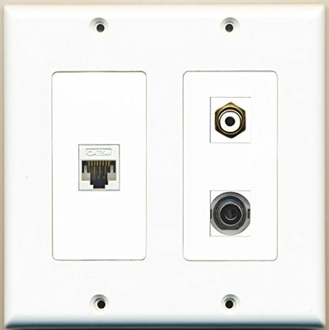 RiteAV - 1 Port RCA White 1 Port 3.5mm 1 Port Cat5e Ethernet White - 2 Gang Wall Plate