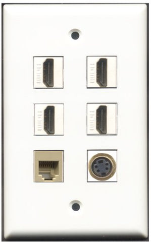 RiteAV - 4 Port HDMI 1 Phone RJ11 RJ12 Beige 1 S-Video Wall Plate