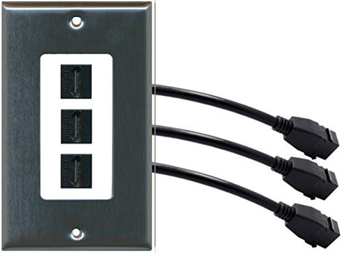 RiteAV (1 Gang Decorative) 3 HDMI Black Wall Plate w/ Pigtail Extension Cable Stainless Steel on White