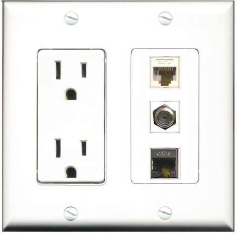 RiteAV - 15 Amp Power Outlet 1 Port Coax 1 Port Shielded Cat6 Ethernet Ethernet 1 Port Cat6 Ethernet Ethernet White Decorative Wall Plate