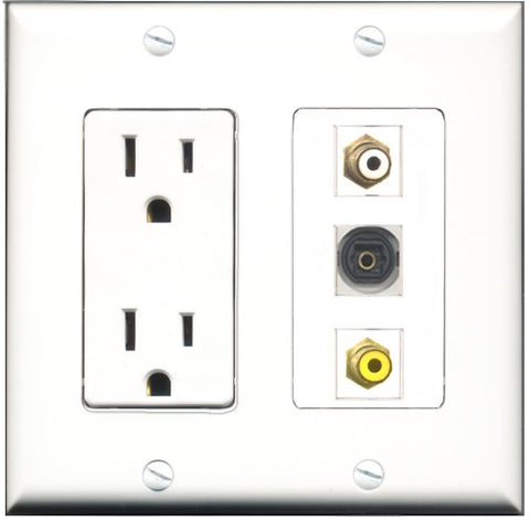 RiteAV - 15 Amp Power Outlet 1 Port RCA White 1 Port RCA Yellow 1 Port Toslink Decorative Wall Plate