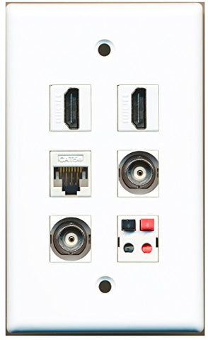 RiteAV - 2 HDMI 2 Port BNC 1 Port Cat5e Ethernet White 1 Port Speaker Wall Plate