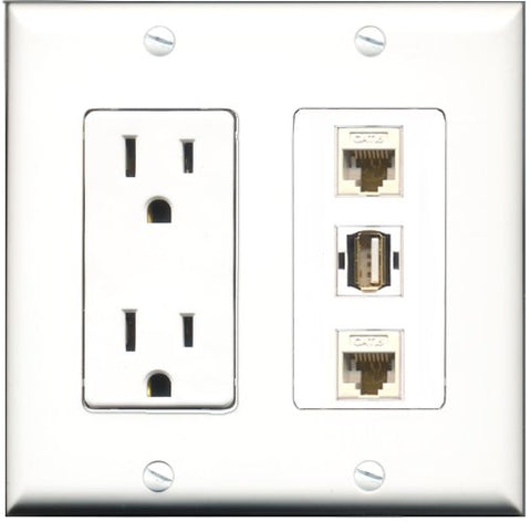 RiteAV - 15 Amp Power Outlet 1 Port USB A-A 2 Port Cat6 Ethernet Ethernet White Decorative Wall Plate