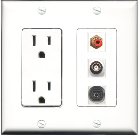 RiteAV - 15 Amp Power Outlet 1 Port RCA Red 1 Port Toslink 1 Port BNC Decorative Wall Plate
