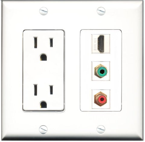 RiteAV - 15 Amp Power Outlet 1 Port HDMI 1 Port RCA Red 1 Port RCA Green Decorative Wall Plate