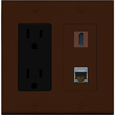RiteAV - 15 Amp Power Outlet and 1 Port HDMI and 1 Port Shielded Cat6 Ethernet Decorative Type Wall Plate - Brown