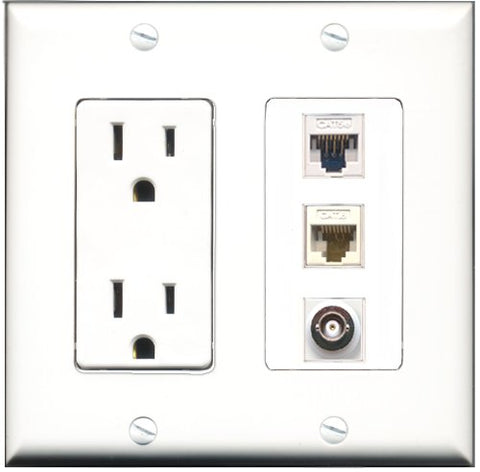 RiteAV - 15 Amp Power Outlet 1 Port BNC 1 Port Cat5e Ethernet White 1 Port Cat6 Ethernet Ethernet White Decorative Wall Plate