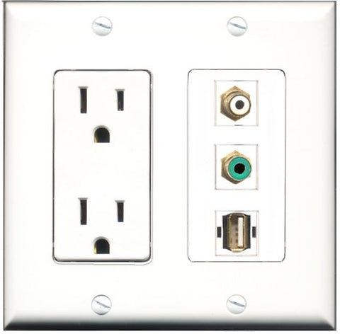 RiteAV - 15 Amp Power Outlet 1 Port RCA White 1 Port RCA Green 1 Port USB A-A Decorative Wall Plate