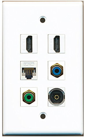 RiteAV - 2 HDMI 1 Port RCA Green 1 Port RCA Blue 1 Port Toslink 1 Port Cat5e Ethernet White Wall Plate