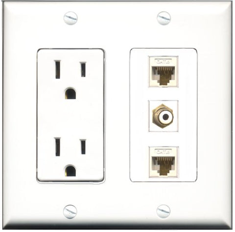 RiteAV - 15 Amp Power Outlet 1 Port RCA White 2 Port Cat6 Ethernet Ethernet White Decorative Wall Plate