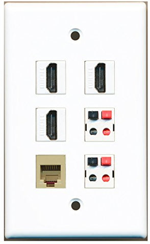 RiteAV - 3 HDMI 1 Port Phone RJ11 RJ12 Beige 2 Port Speaker Wall Plate