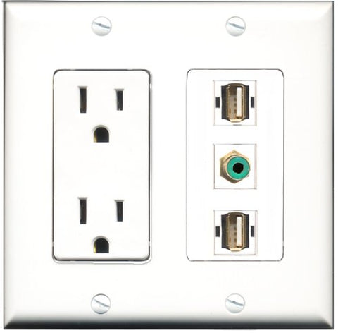 RiteAV - 15 Amp Power Outlet 1 Port RCA Green 2 Port USB A-A Decorative Wall Plate