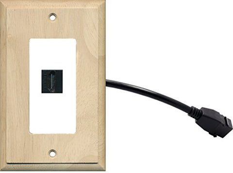 RiteAV (1 Gang Decorative) HDMI Wall Plate w/ Pigtail Extension Cable Wood on White