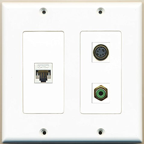 RiteAV - 1 Port RCA Green 1 Port S-Video 1 Port Cat5e Ethernet White - 2 Gang Wall Plate