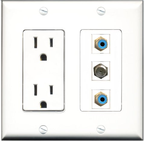 RiteAV - 15 Amp Power Outlet 2 Port RCA Blue 1 Port Coax Decorative Wall Plate
