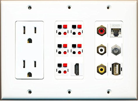 RiteAV - (3 Gang) 15A Outlet HDMI Coax Cat5e Composite Video 5 Speaker USB Wall Plate