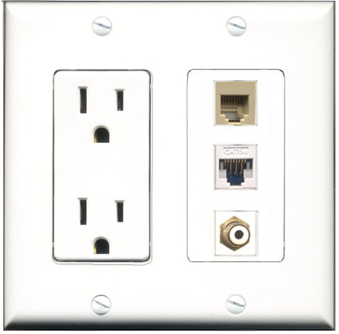 RiteAV - 15 Amp Power Outlet 1 Port RCA White 1 Port Phone Beige 1 Port Cat5e Ethernet White Decorative Wall Plate