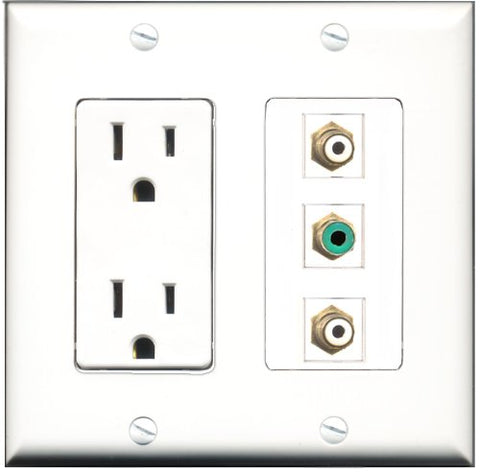 RiteAV - 15 Amp Power Outlet 2 Port RCA White 1 Port RCA Green Decorative Wall Plate