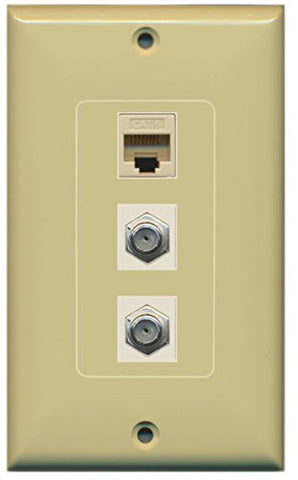 RiteAV - 2 Port Coax Cable TV- F-Type and 1 Port Cat6 Ethernet Decorative Wall Plate - Ivory