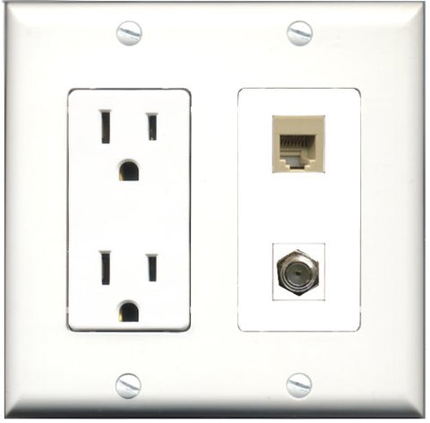 RiteAV - 15 Amp Power Outlet and 1 Port Coax Cable TV- F-Type and 1 Port Phone RJ11 RJ12 Beige Decorative Type Wall Plate White