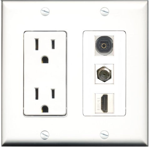 RiteAV - 15 Amp Power Outlet 1 Port HDMI 1 Port Coax 1 Port Toslink Decorative Wall Plate