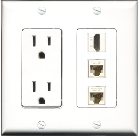 RiteAV - 15 Amp Power Outlet 1 Port HDMI 2 Port Cat6 Ethernet Ethernet White Decorative Wall Plate
