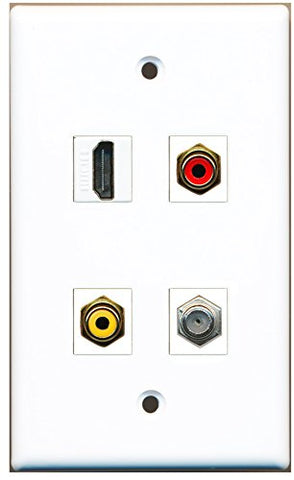 RiteAV - 1 Port HDMI 1 Port RCA Red 1 Port RCA Yellow 1 Port Coax Cable TV- F-Type Wall Plate