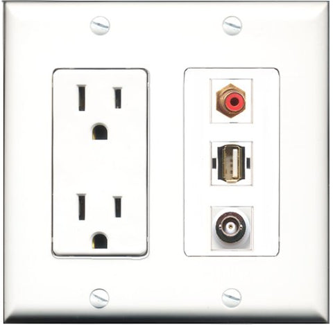 RiteAV - 15 Amp Power Outlet 1 Port RCA Red 1 Port USB A-A 1 Port BNC Decorative Wall Plate