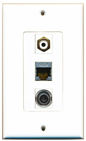 RiteAV - 1 Port RCA White and 1 Port Shielded Cat6 Ethernet and 1 Port 3.5mm Decorative Wall Plate Decorative