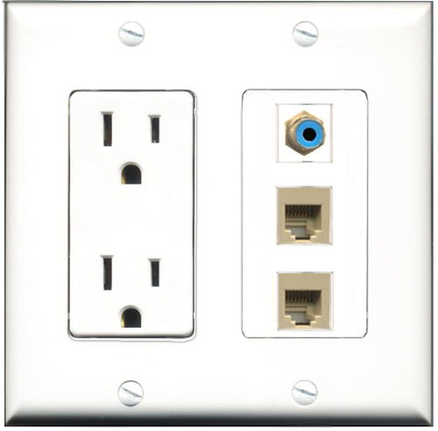 RiteAV - 15 Amp Power Outlet 1 Port RCA Blue 2 Port Phone Beige Decorative Wall Plate