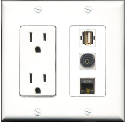 RiteAV - 15 Amp Power Outlet 1 Port USB A-A 1 Port Shielded Cat6 Ethernet Ethernet 1 Port Toslink Decorative Wall Plate