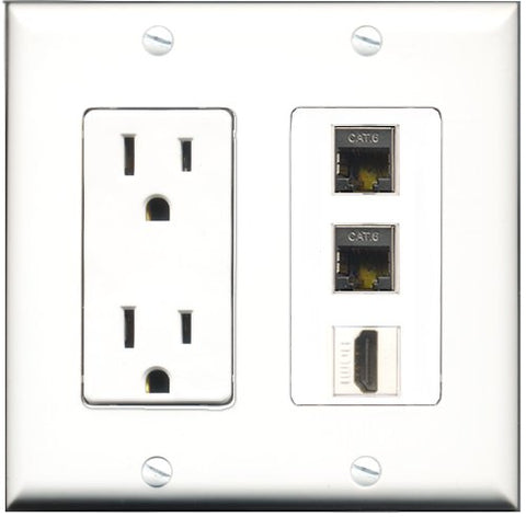 RiteAV - 15 Amp Power Outlet 1 Port HDMI 2 Port Shielded Cat6 Ethernet Ethernet Decorative Wall Plate