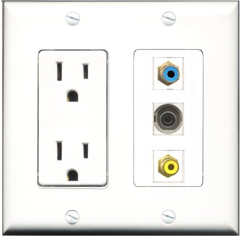 RiteAV - 15 Amp Power Outlet 1 Port RCA Yellow 1 Port RCA Blue 1 Port 3.5mm Decorative Wall Plate
