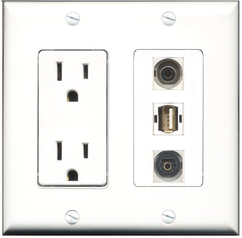 RiteAV - 15 Amp Power Outlet 1 Port USB A-A 1 Port Toslink 1 Port 3.5mm Decorative Wall Plate