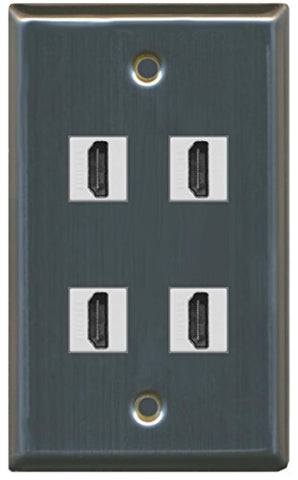 RiteAV - 4 Port HDMI Wall Plate - Stainless Steel