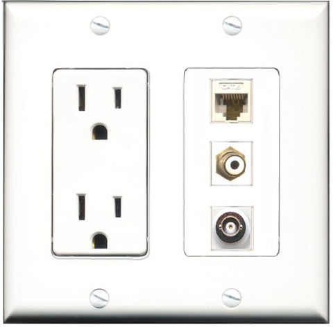RiteAV - 15 Amp Power Outlet 1 Port RCA White 1 Port BNC 1 Port Cat6 Ethernet Ethernet White Decorative Wall Plate