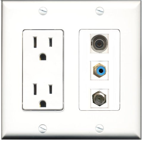 RiteAV - 15 Amp Power Outlet 1 Port RCA Blue 1 Port Coax 1 Port 3.5mm Decorative Wall Plate