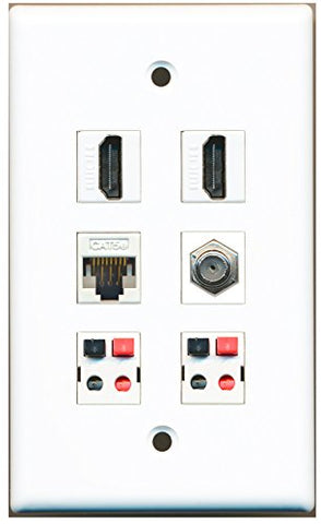 RiteAV - 2 HDMI 1 Port Coax Cable TV- F-Type 1 Port Cat5e Ethernet 2 Port Speaker Wall Plate - White