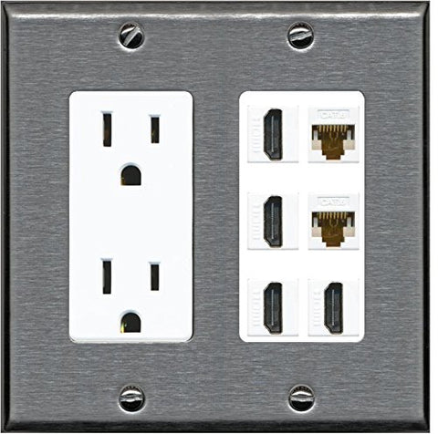 RiteAV - (2 Gang Decorative) 15A Outlet 4 HDMI 2 Cat6 Wall Plate Stainless Steel White
